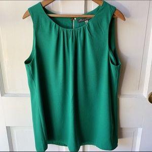 Rose & Olive Green Keyhole Back Blouse, Size XL